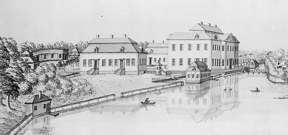 drawing of Lövsta castle with the library building