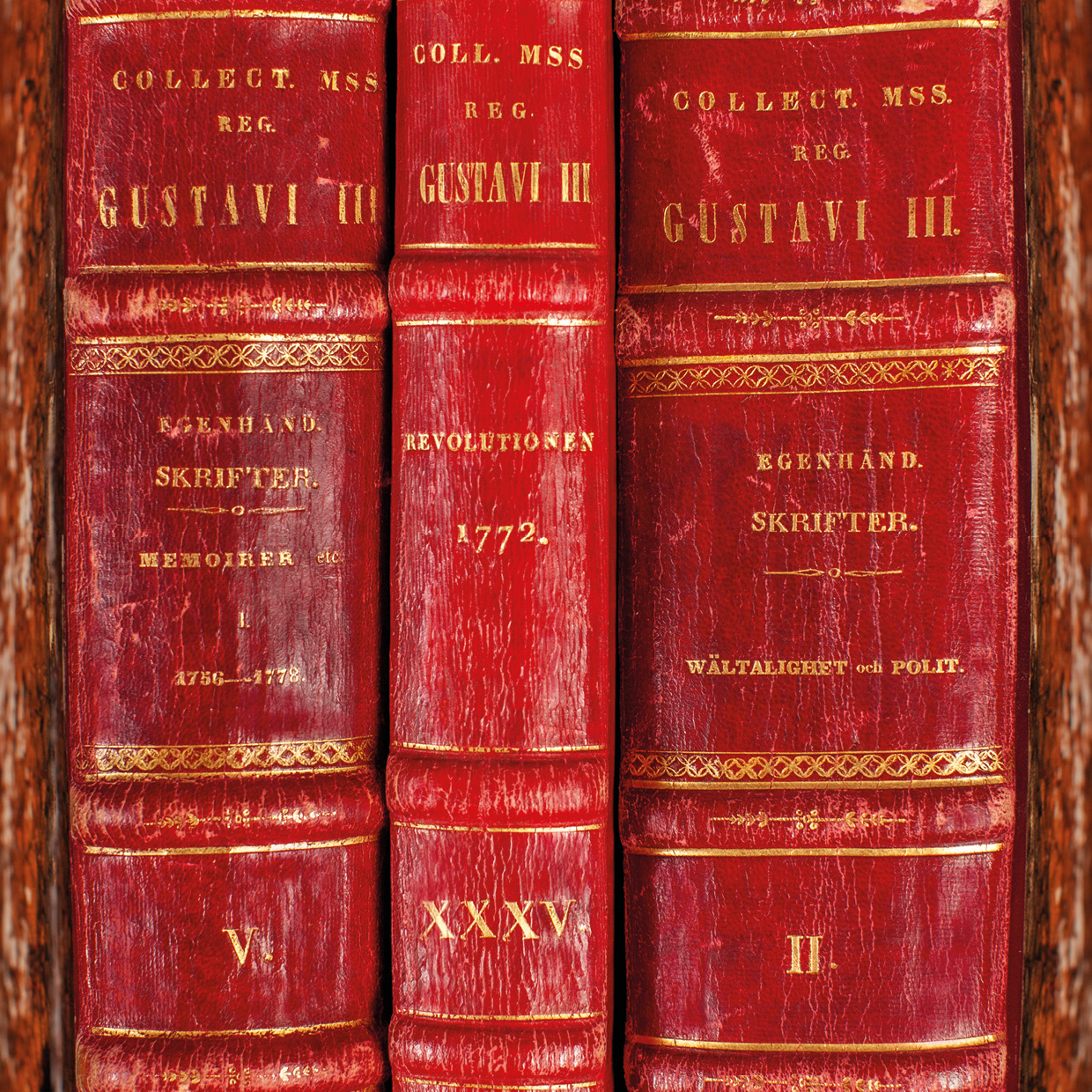 Red bookspines from the Gustavian collection