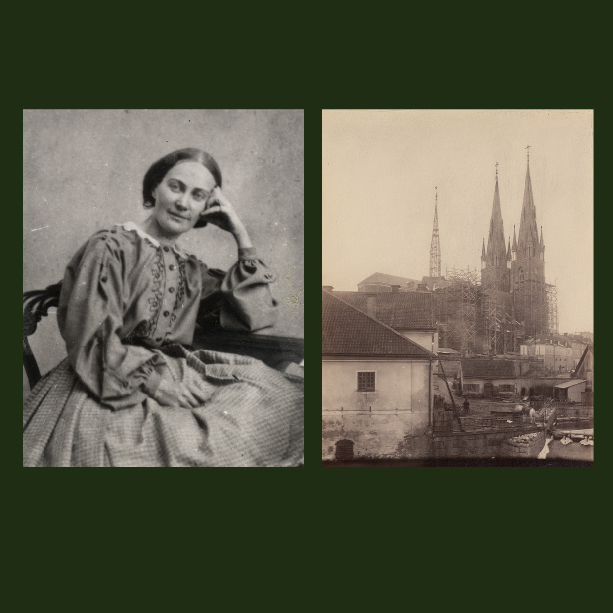portrait of Emma Schenson on the left and a view of the rebuilt towers of the cathedral on the right