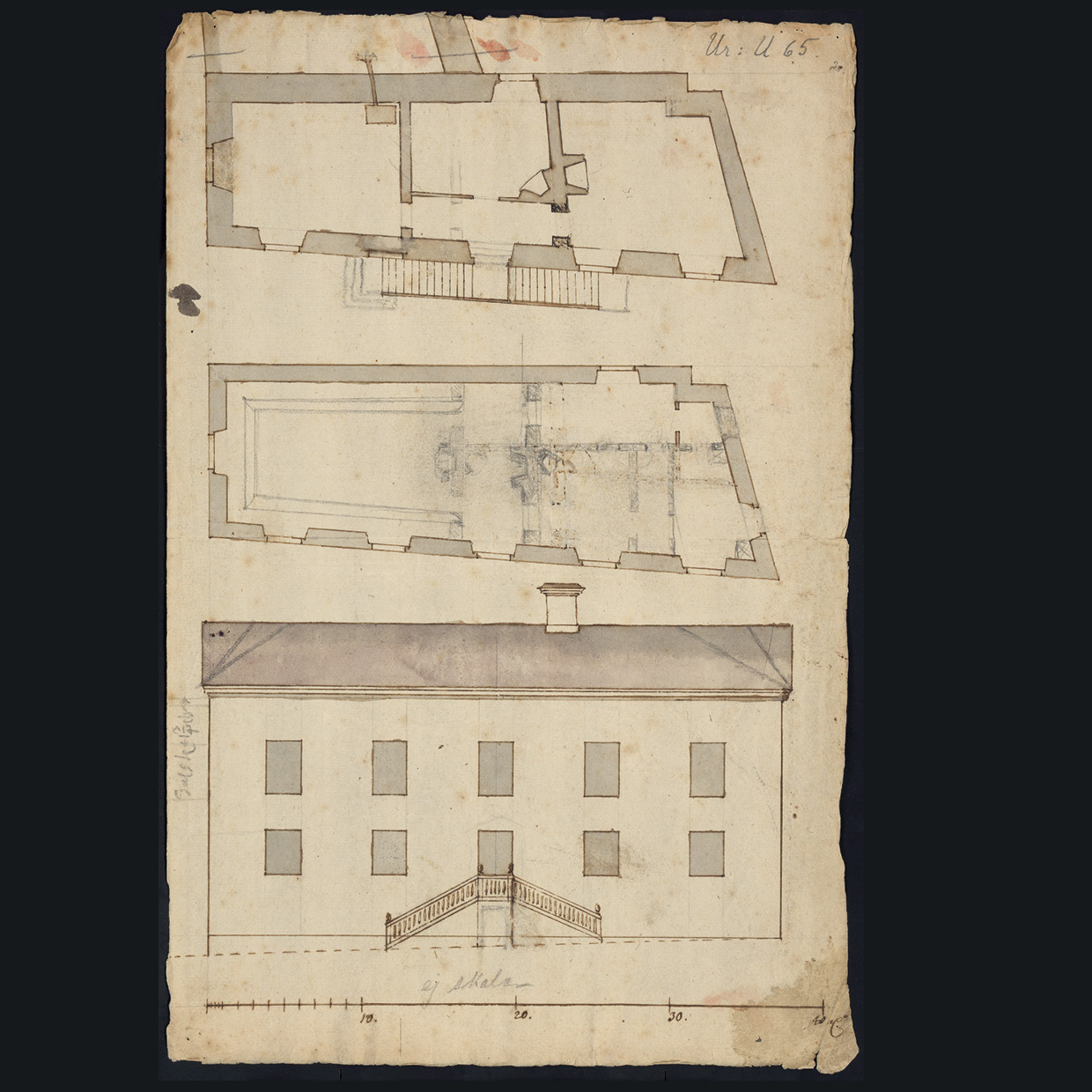 plan of a building, also a plan of the front