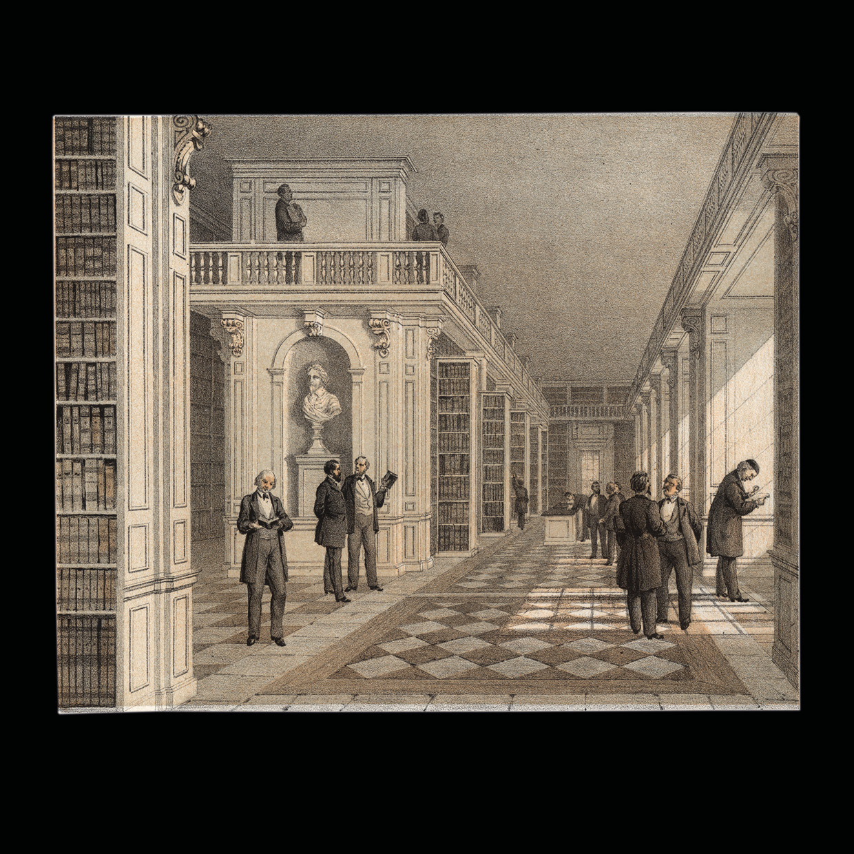Interior of the book hall with men talking or reading books