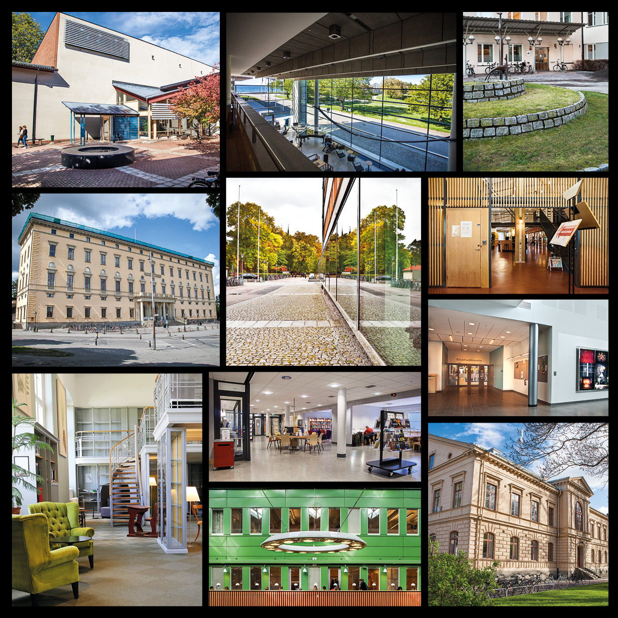 collage of eleven library buildings, interiors and exteriors