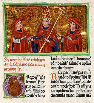 Hand painted illuminations that adorn the introductory page of Gregory IX's Decretales (pope or council's decision). The book is an incunable, printed in Venice in 1482. It has belonged jesuitbiblioteket Brauneberg [Ink. 35:148].